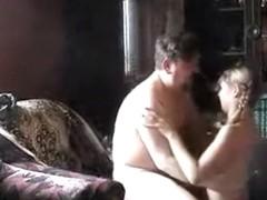 Old man fucks the neighbor girl on the sofa