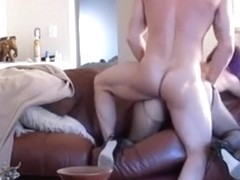 Fucking the gf so hard doggystyle on the sofa that it moved position