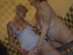 Young man old granny and sexy girl