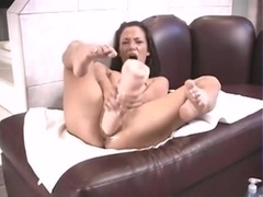 Smacking my petite Latina pussy with a big dildo