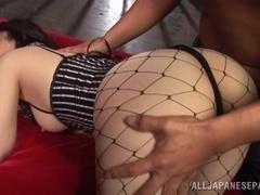 Yuuka Tsubasa is a hot Asian milf in fishnet stockings