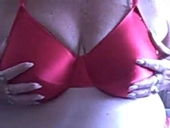 BBW Granny in Red Bra and Panties Masturbates for You