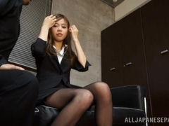 Petite Japanese office girl gets mouthful of cumshot