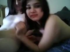 Rubbing my lesbian's friend yum-yum