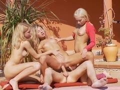 3 blonde teen asses 1 cock