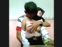 Muslim asian girl lets her bf play with her tits in school during lunchbreak