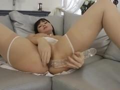 Ilona Fox masturbating on the sofa and getting drilled