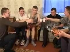 young Russian woman in gangbang