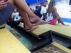 Big feet dangling flip flops 2