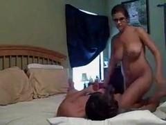 hot brunette fucks on bed