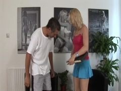 Kinky dominatrix in spanking game with her thrall
