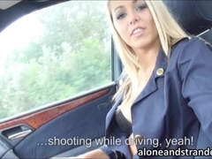 Blonde stewardess Christen outdoor sex