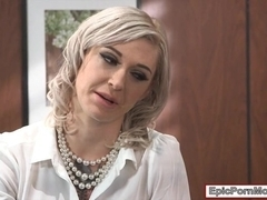 Busty boss Kleo Valentien got a creampie after hard fucking