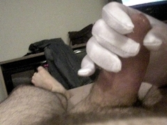 Getting jerked off with white gloves