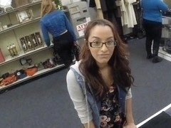 Coed in glasses pawned her books and banged in the pawnshop