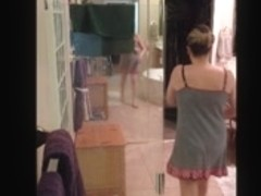 Real wife undressing for shower
