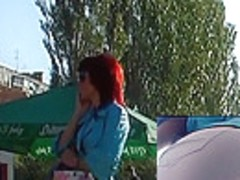Hawt redhead upskirt movie scene