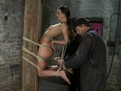 Predicament Category 5 bondage. Pulled back by hair tie, pulled forward by nipples!