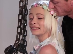 Tiny blonde teenie Maddy Rose tied up and slammed hard