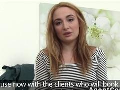 Sexy blonde posing in underwear in casting