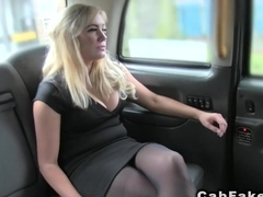 Blonde bbw rimming and fucking in fake taxi