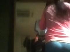 Gym Girl in shiny tight spandex