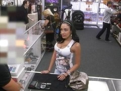 Huge boobs amateur brunette latina banged at the pawnshop