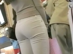 xXx street candid ordering fast food sexy brunette tight jeans