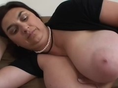 Brunette BBW-Milf with Huge-Boobs Teasing