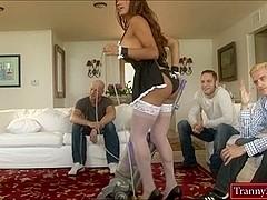 Big boobs Latina shemale maid Jessy Dubai double analed