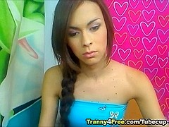 Cute Tranny Playing her Dick