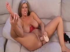 BBW masturbates and squirts on her feet
