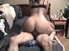 Hot brunette with awesome body sucks and rides her bf with ass cumshot
