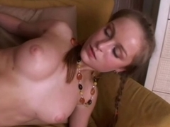 cute youthful russian pair have sex on daybed