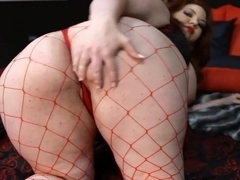 Fat slut Nixie plays with her delicious shaven twat