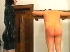 Sissy serf gets some flogging from his dominatrix