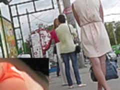 Voyeur films sexy thong using hidden cam upskirt