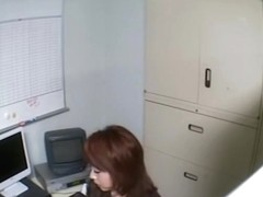 Naughty Jap sucks of her boss in voyeur office sex video
