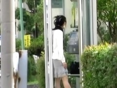 Phone booth is the perfect spot for the skirt sharking video