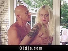 Teenie and senior have sex at hotel gym
