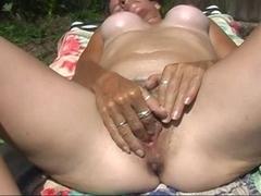 Fingering my juicy bushy wet crack in the sexy Florida sun