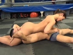 athletic girl has her way with boy cock and balls