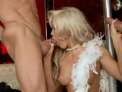 Blonde pole dancer Cristal services three clients right near the pole