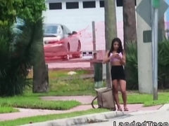 Busty Latina teen bangs in the car in public