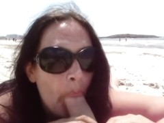 Private Public Blowjob and Handjob on the Beach in Majorca - Fuck my nasty Mouth - C U M on the Be.