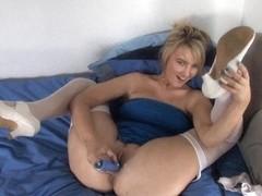 Adorable blonde masturbates in free down blouse porn clip