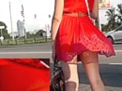 Brunette peach plays the main role in upskirt videos