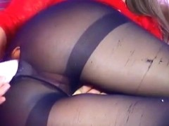Tigresswild in pantyhose fucks his ass through the hole