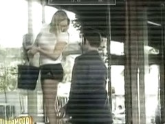 Funny sexy candid camera shows a guy scratching a girls leg.