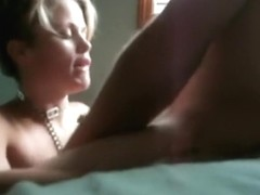 Blonde serf girl with collar gets to suck the master's cock